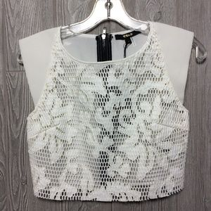 NWt White Lace Zipper Back Top - Small